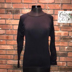 Forever 21 Sheer Sleeves Silky Form Fitting Shirt